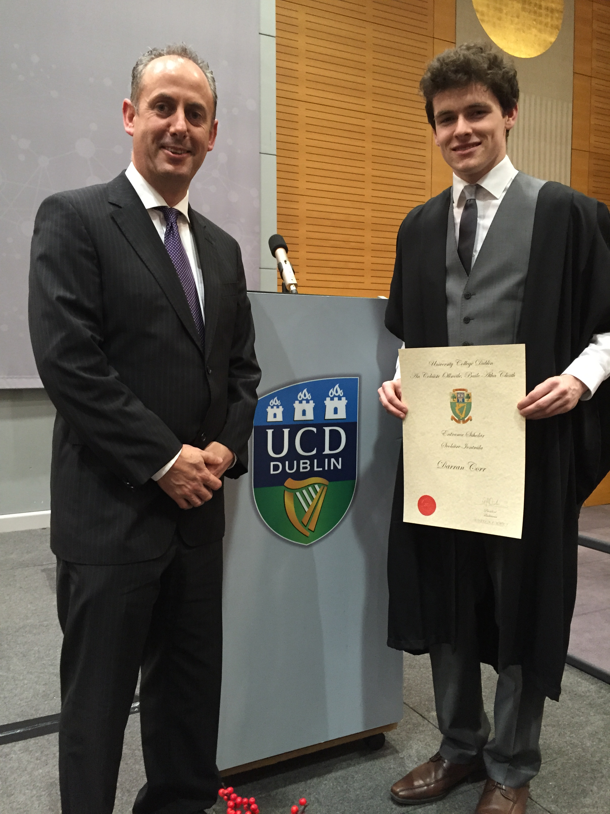 Darren receives his Entrance Scholarship from UCD. Here he is pictured with Deputy Principal Mr. Cathal Boyle at the ceremony.